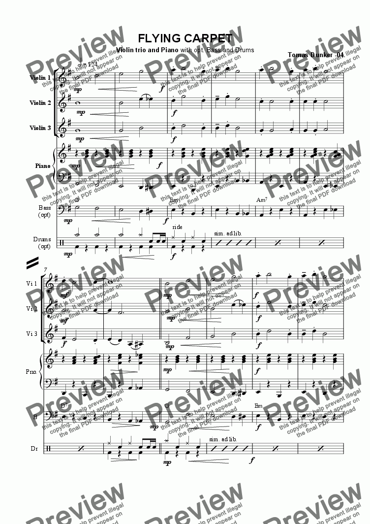 page one of Flying Carpet (3 Violin +Pno)