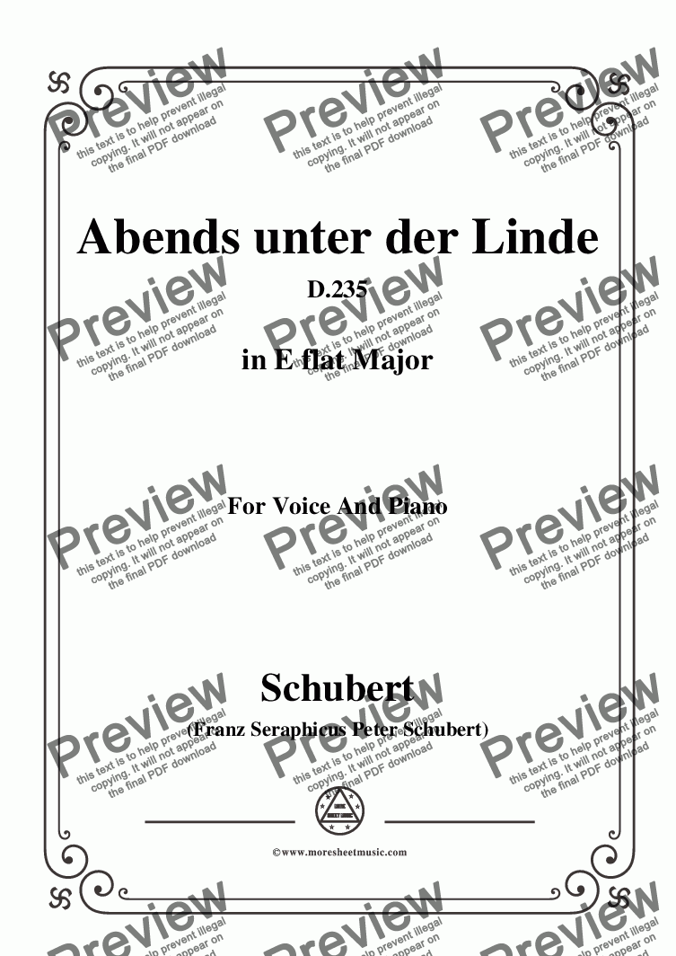page one of Schubert-Abends unter der Linde,D.235,in E flat Major,for Voice&Piano