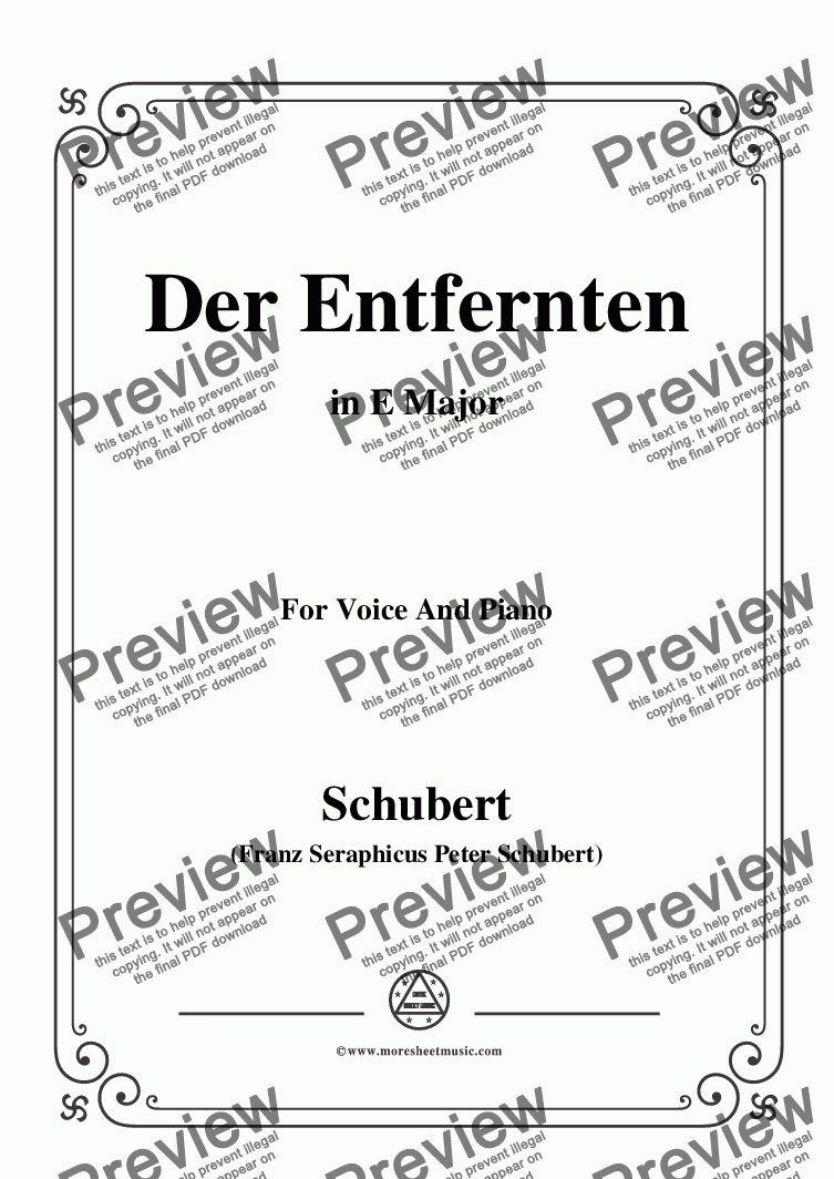 page one of Schubert-Der Entfernten,in E Major,for Voice&Piano
