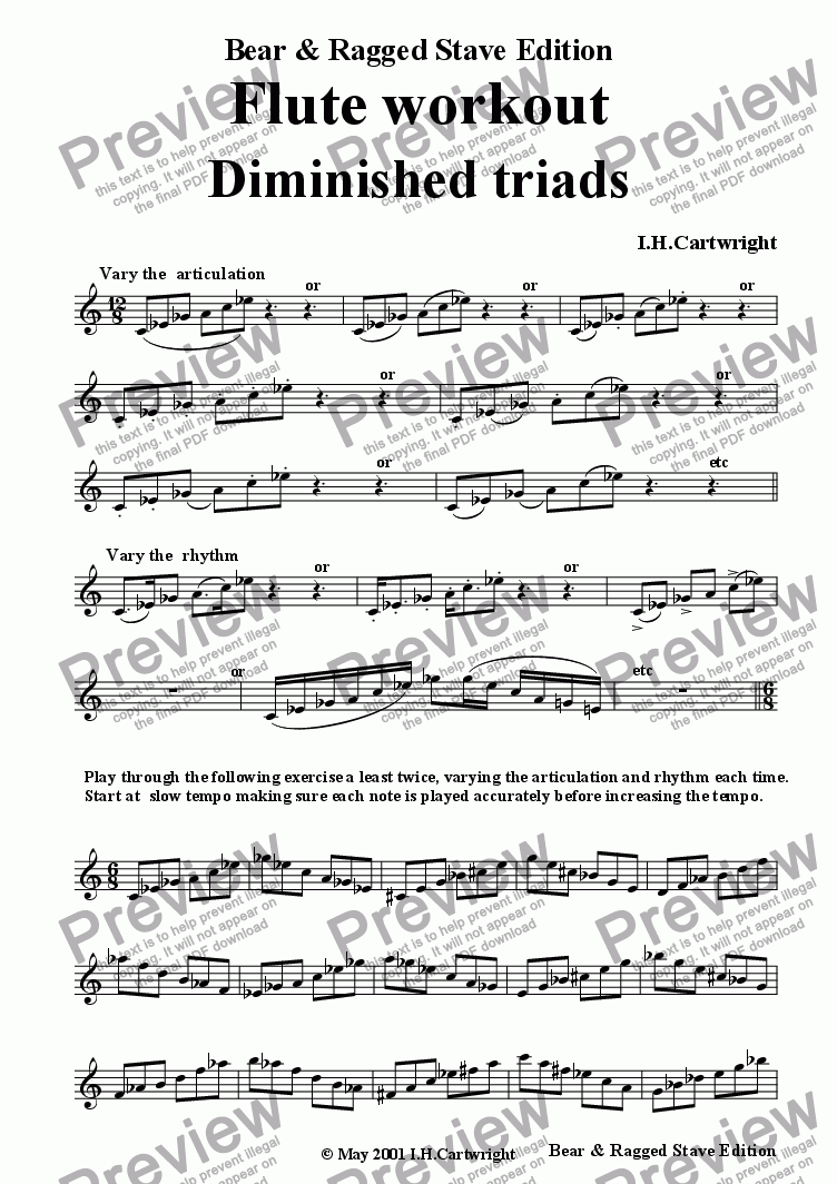 page one of Flute workout - Diminished triads