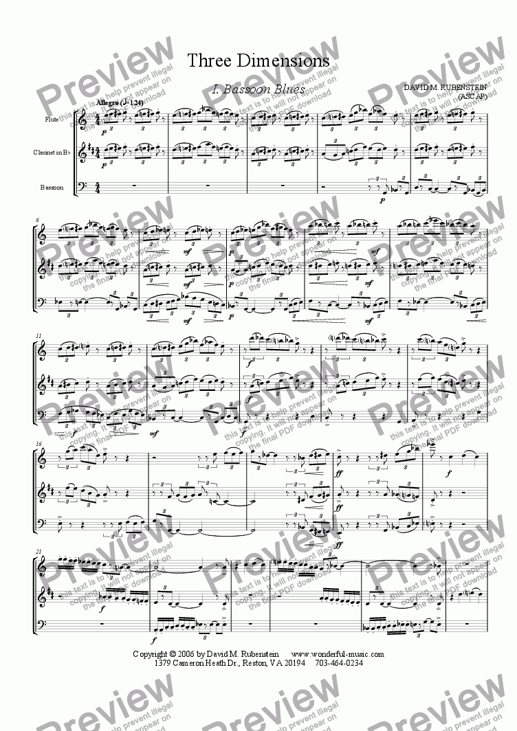 page one of Three Dimensions (woodwind trio)