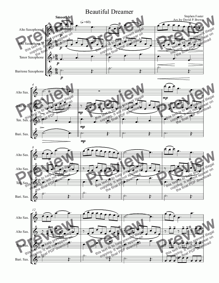 page one of Beautiful Dreamer for Saxophone Quartet