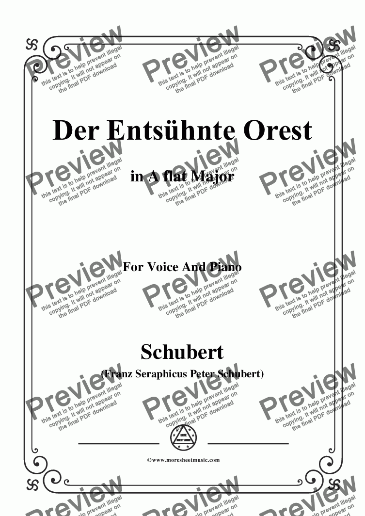 page one of Schubert-Der Entsühnte Orest,in A flat Major,for Voice&Piano
