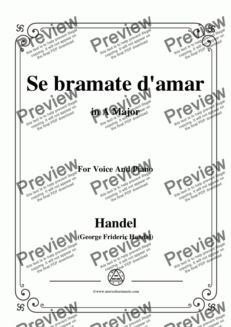 page one of Handel-Se bramate d'amar,from 'Serse',in A Major,for Voice and Piano