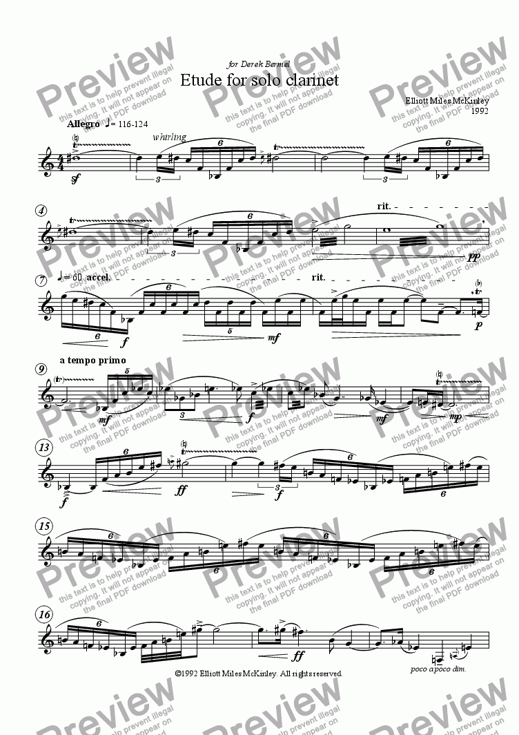 page one of Etude for Solo Clarinet