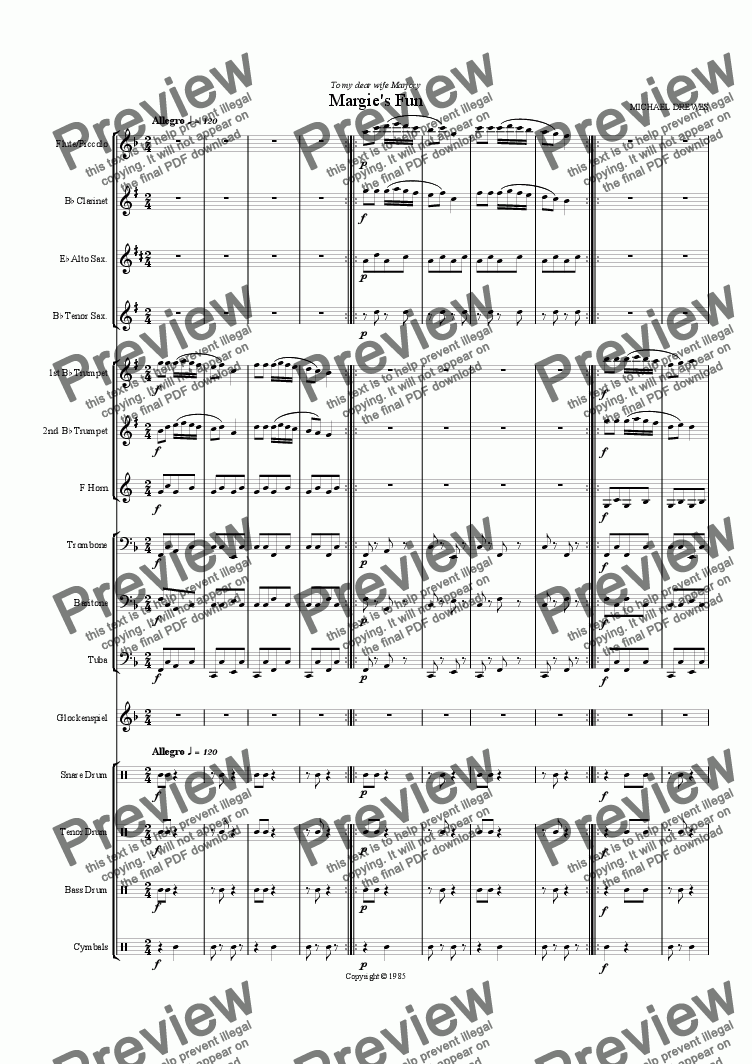Margie' s Fun for Marching Band for Marching band by Michael Drewes - Sheet  Music PDF file to download