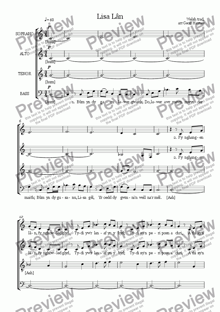 page one of Lisa Lân (Welsh folksong for SATB)