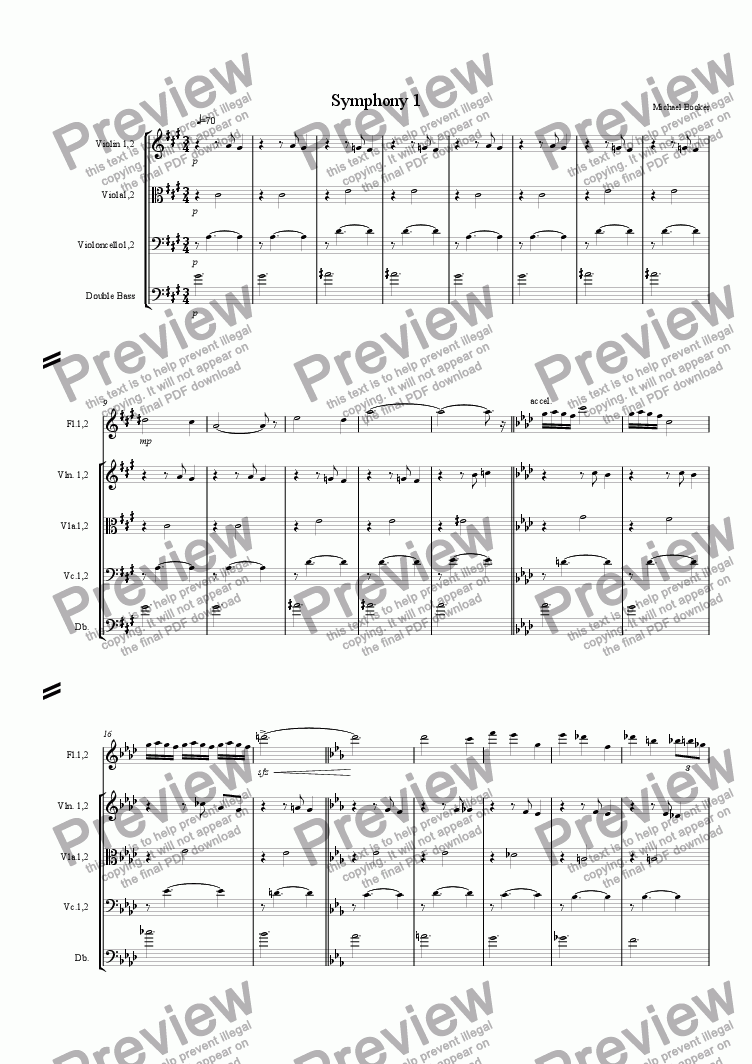 page one of Symphony 1 first movement