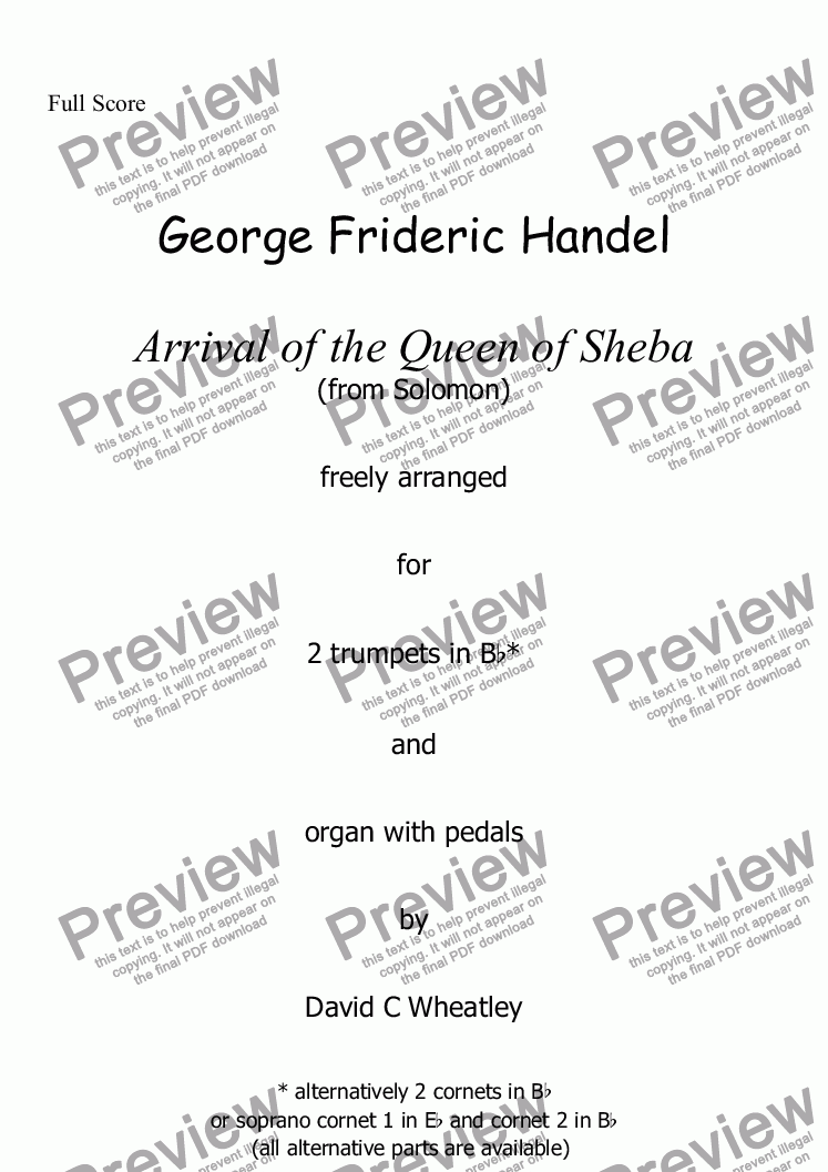 page one of Handel - Arrival of the Queen of Sheba  freely arranged for  2 trumpets (easier parts) and organ with pedals