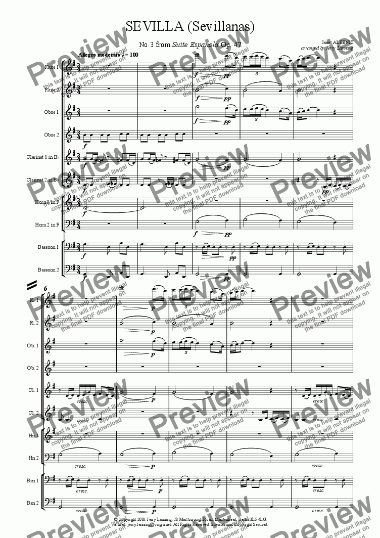 page one of Sevilla - Albeniz (for wind decet)ASALTTEXT
