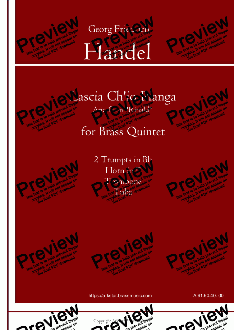 "page one of Handel: ""Lascia Ch'io Pianga"" from Rinald (Opera) for Brass Quintet"