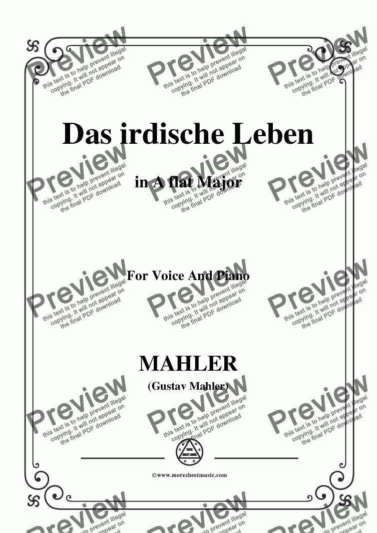 page one of Mahler-Das irdische Leben in A flat Major,for Voice&Pno