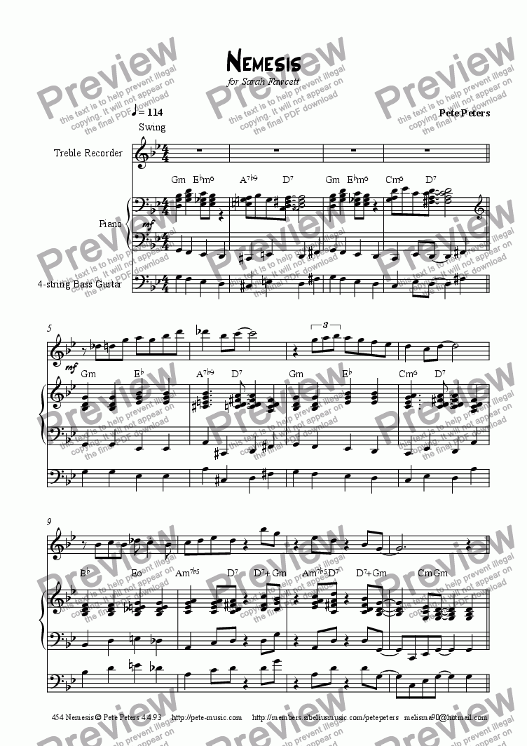 page one of Nemesis [Flute/Recorder]