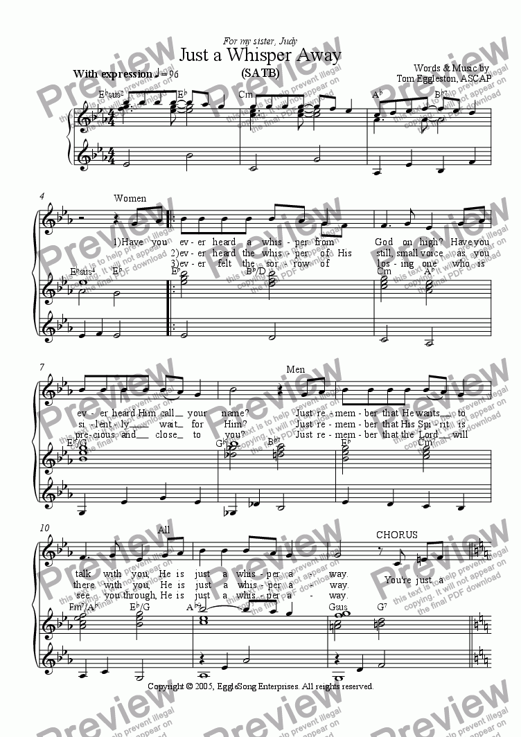 page one of Just a Whisper Away, SATB