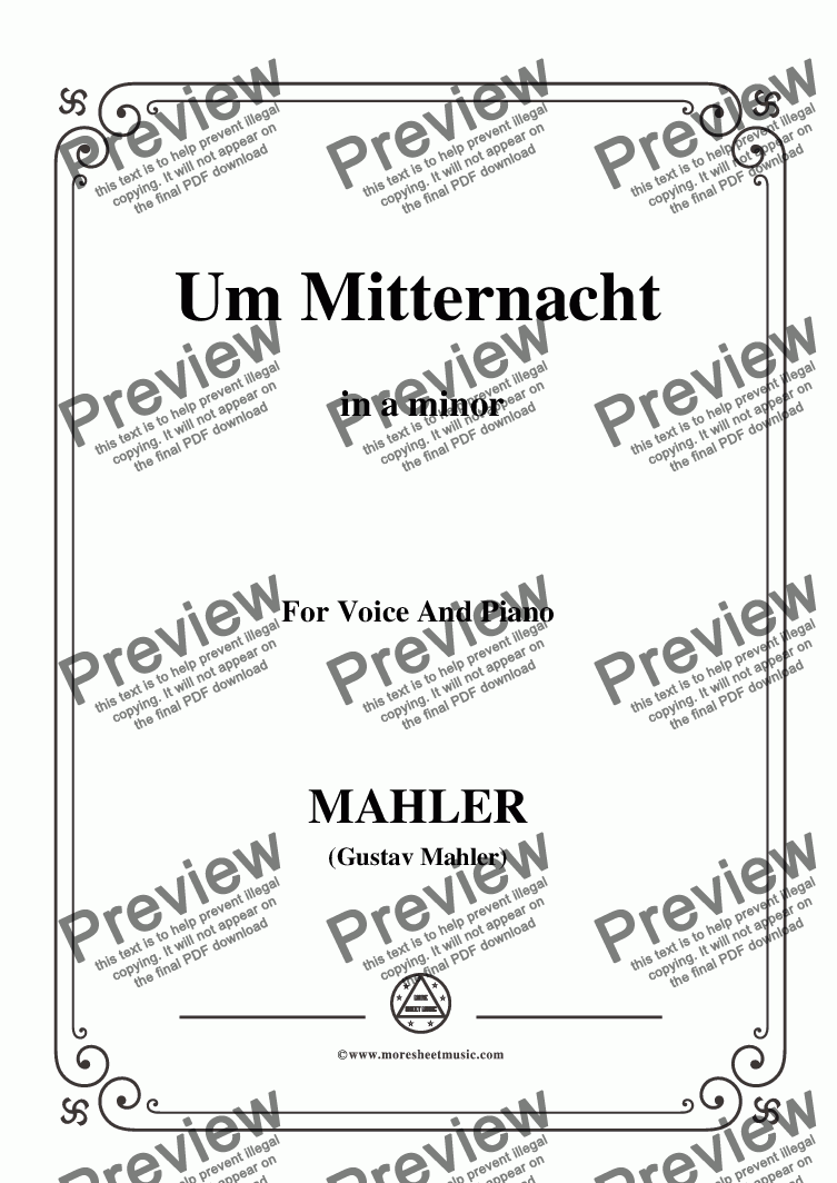 page one of Mahler-Um Mitternacht in a minor,for Voice&Pno