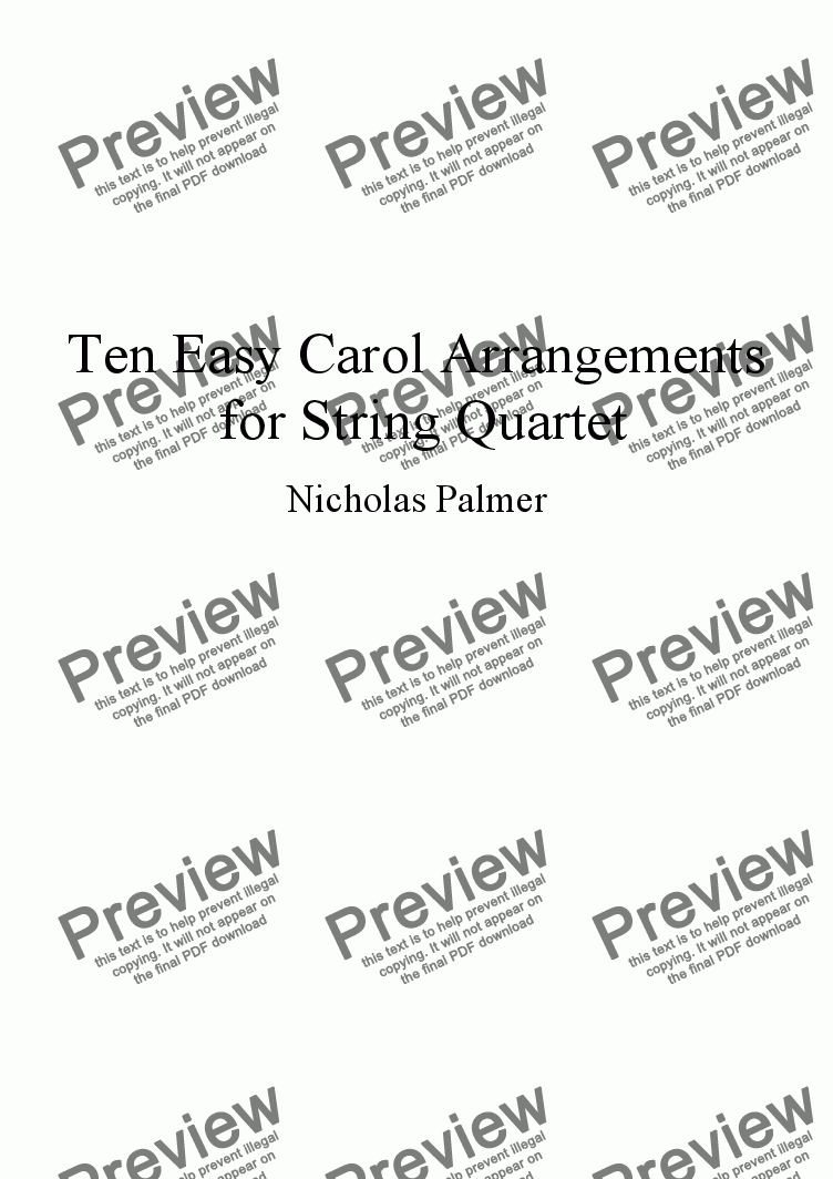 page one of Ten Easy Carol Arrangements for String Quartet vol. 3