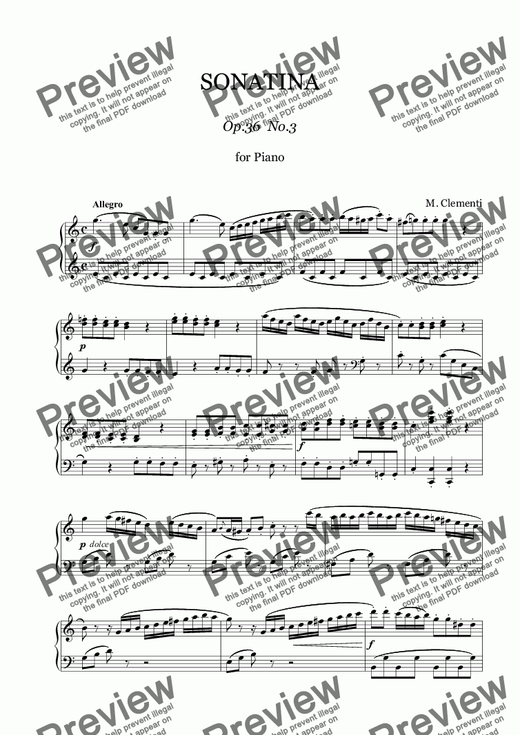 page one of CLEMENTI - Sonatina for Piano Op.36 No.3