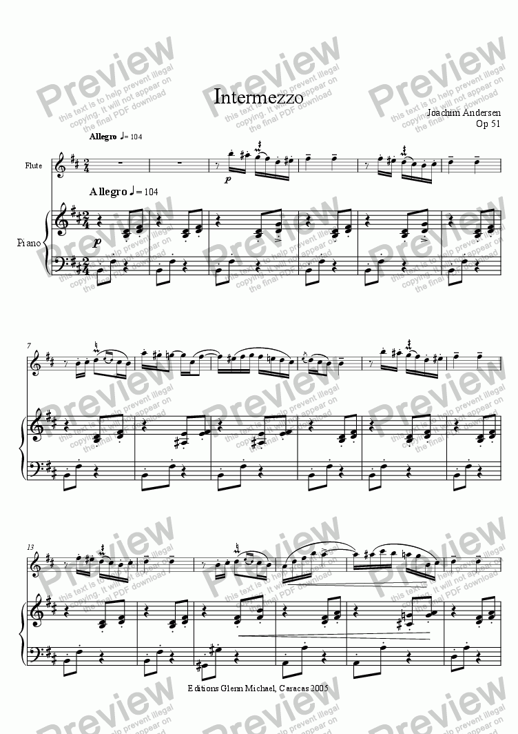 page one of Andersen, Intermezzo for flute & Piano