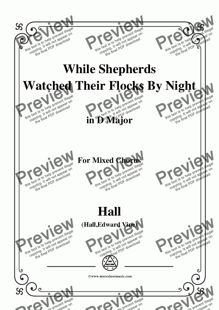 page one of Hall-While Shepherds Watched Their Flocks by night,in D Major,For Quatre Chorales