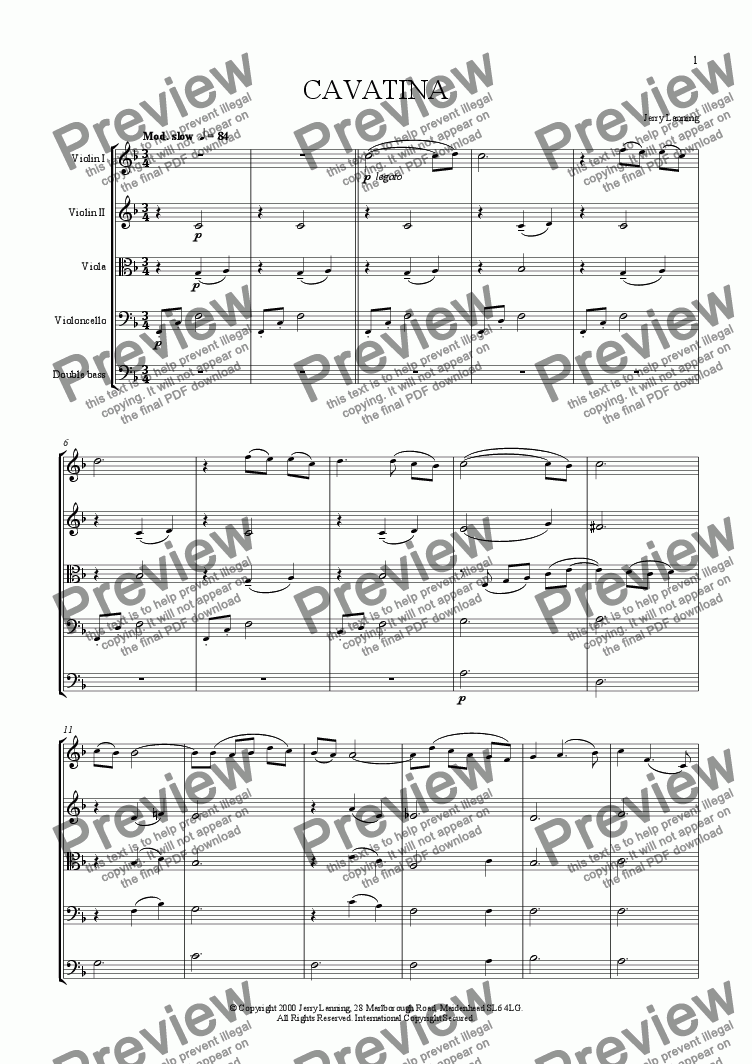 page one of Cavatina (for strings)