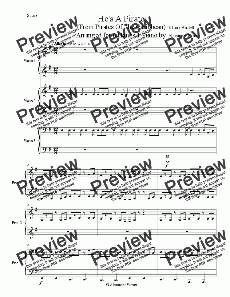 page one of He's A Pirate - Klaus Badelt - Alex Pomaz - 6 Hands 1 Piano