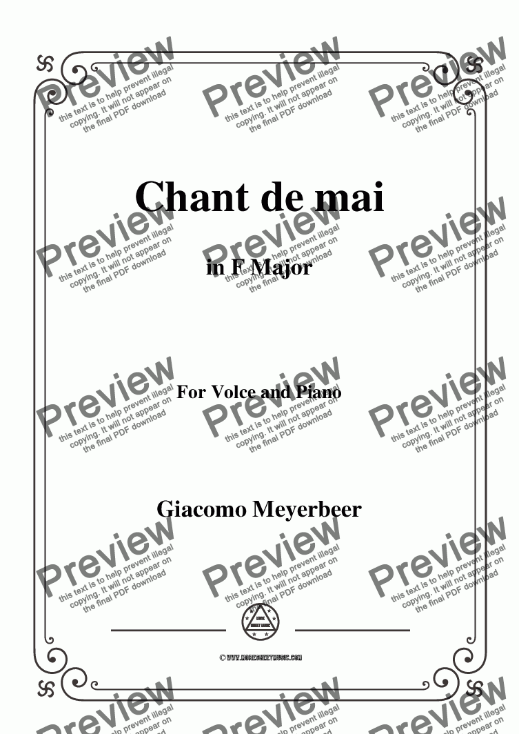 page one of Meyerbeer-Chant de mai in F Major,for Voice&Piano