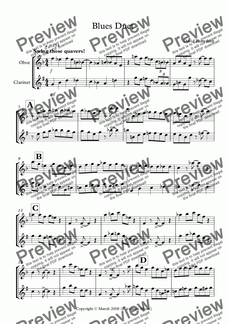 page one of Blues Duet for Oboe and Clarinet in Bb