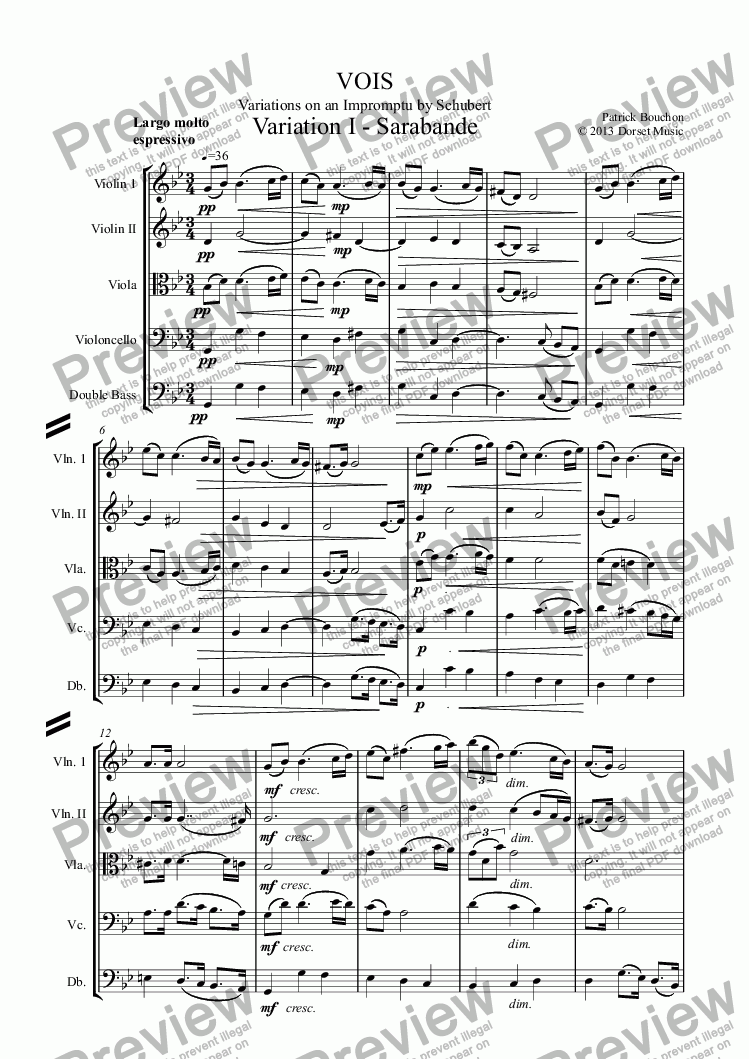 page one of VOIS - Variations on an Impromptu by Schubert - Variation I - Sarabanda