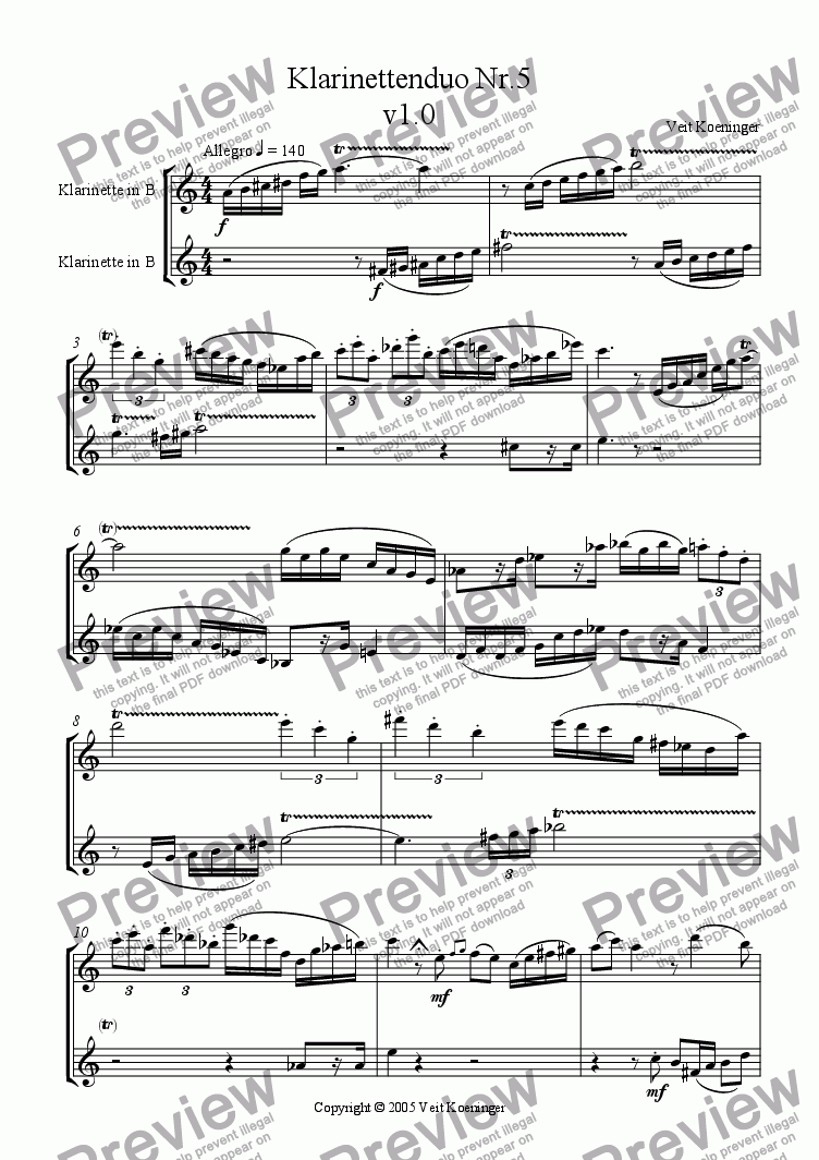 page one of Clarinet duo 5