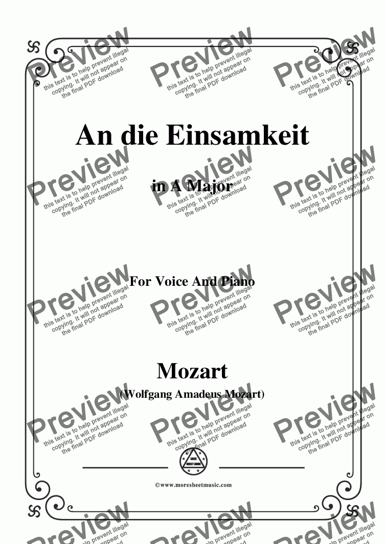 page one of Mozart-An die einsamkeit,in A Major,for Voice and Piano