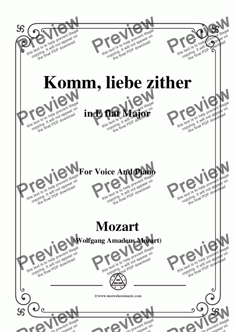 page one of Mozart-Komm,liebe zither,in E flat Major,for Voice and Piano