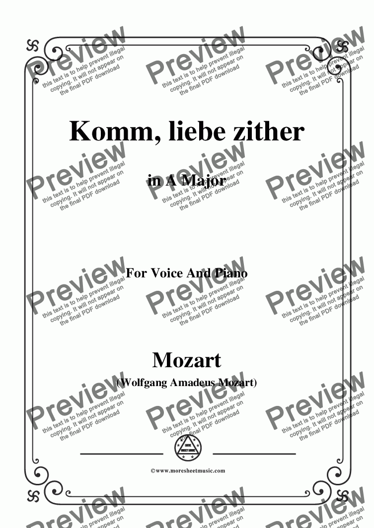 page one of Mozart-Komm,liebe zither,in A Major,for Voice and Piano