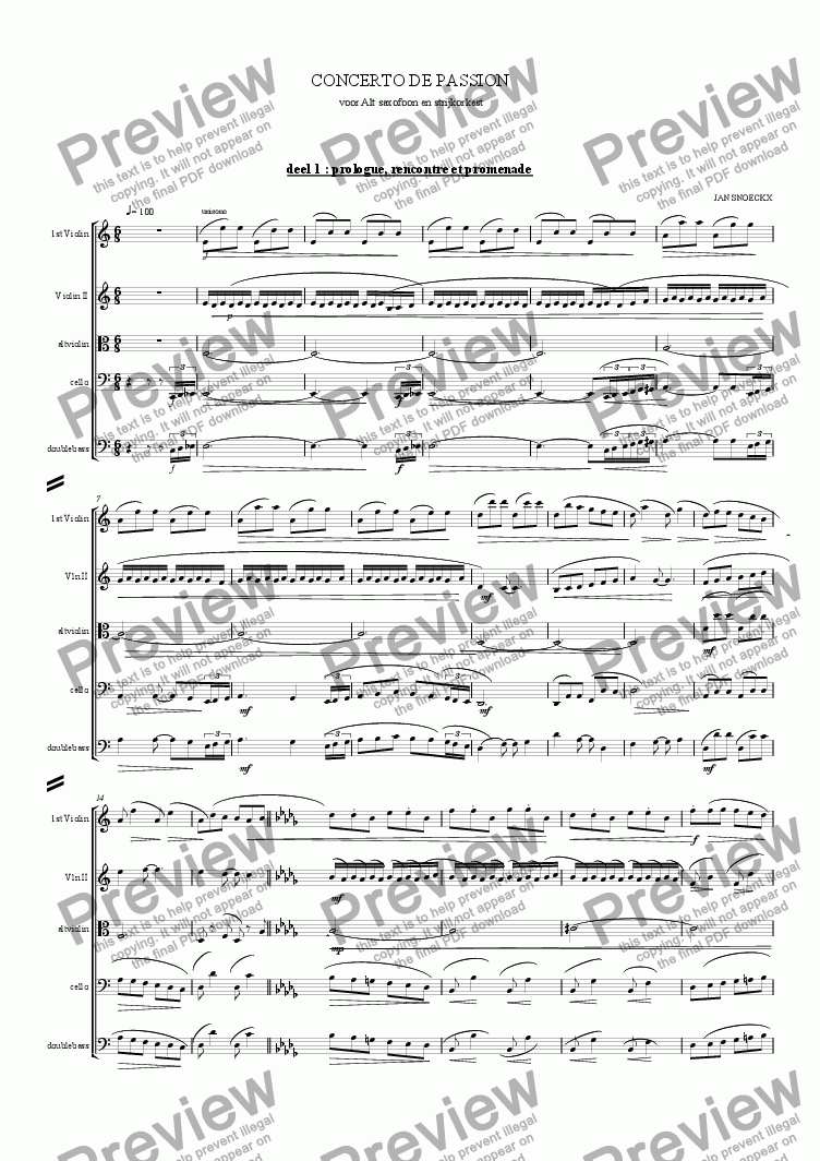 page one of concerto de passion for alto sax and string orchestra part 1, 2 ,3