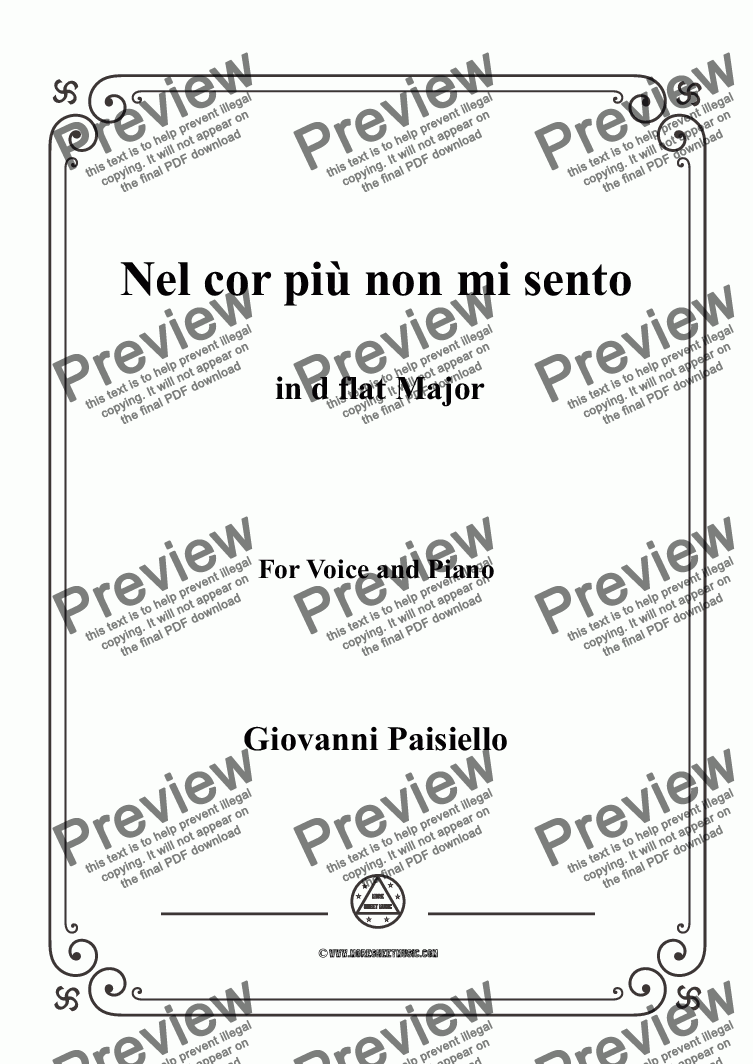 page one of Paisiello-Nel cor più non mi sento in D flat Major,for Voice&Piano