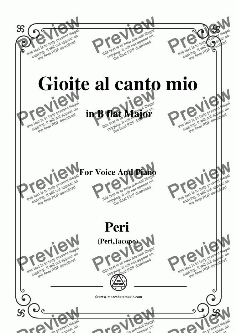 page one of Peri-Gioite al canto mio in B flat Major, for Voice and Piano