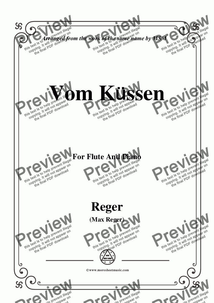 page one of Reger-Vom Küssen,for Flute and Piano - Score and parts