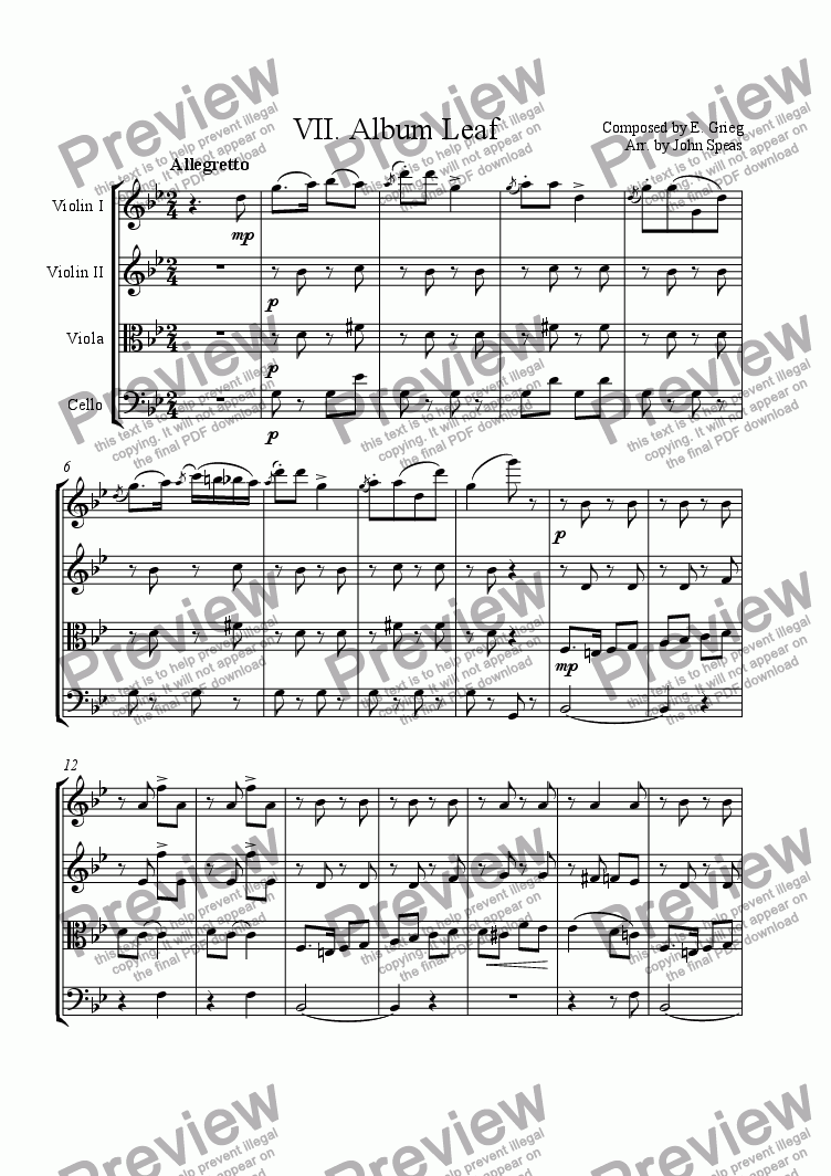 page one of 8 Lyric Pieces, Op. 12 (VII. Album Leaf)