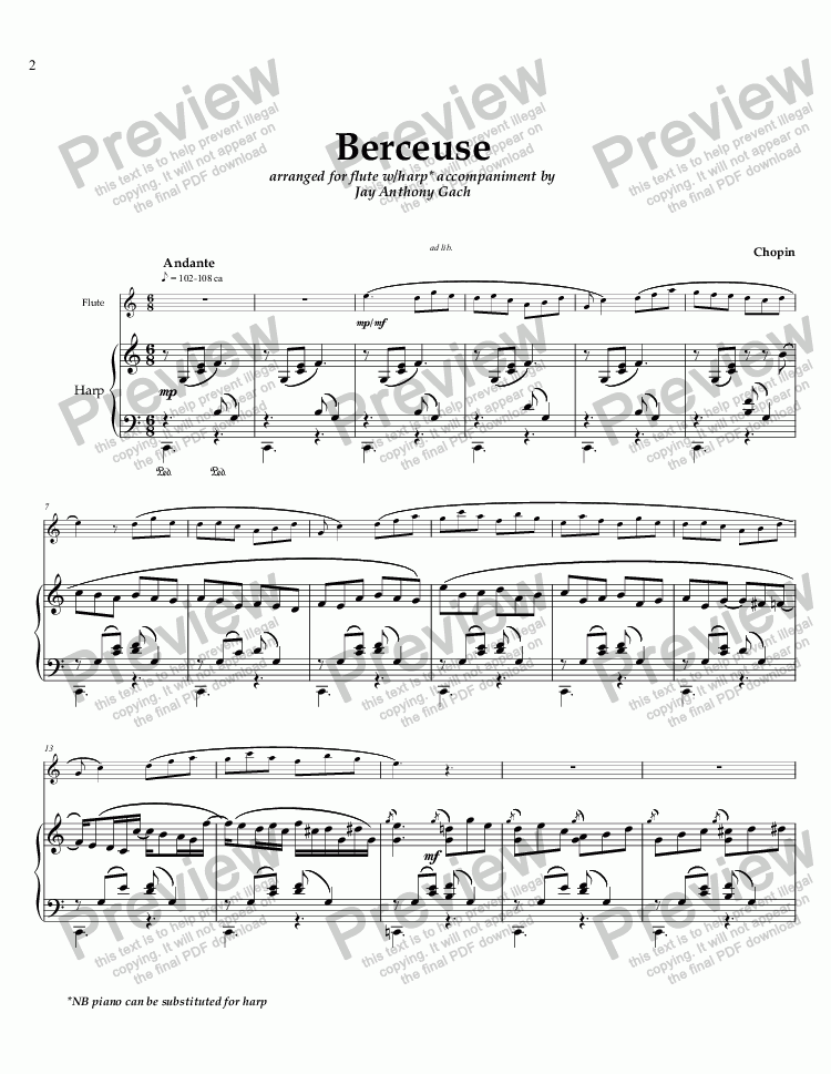 page one of Chopin's BERCEUSE arr. for flute and harp/piano