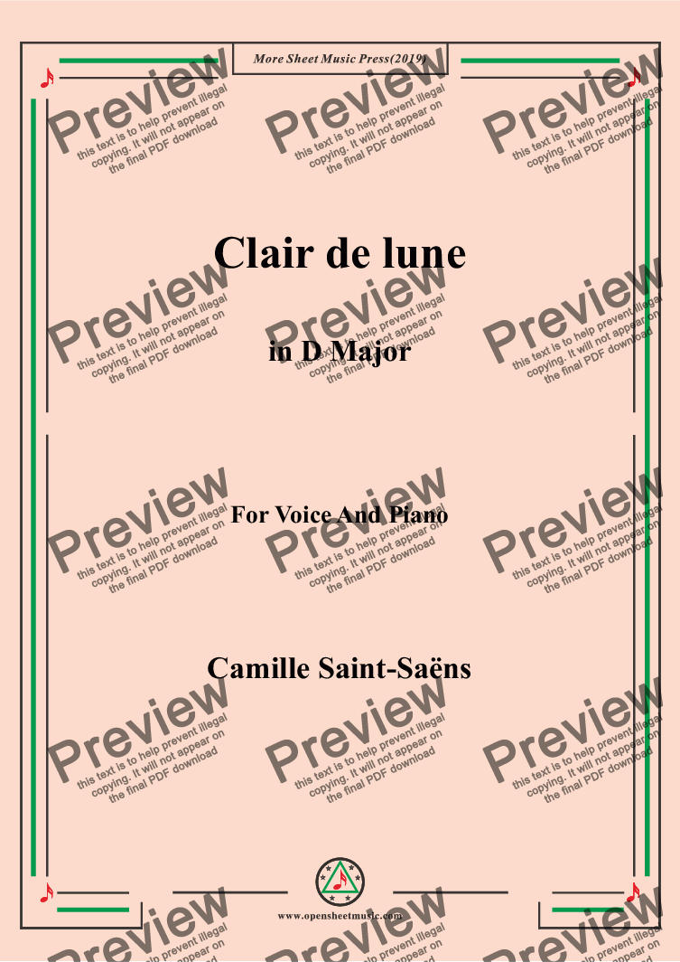 page one of Saint-Saëns-Clair de lune in D Major,for Voice&Pno