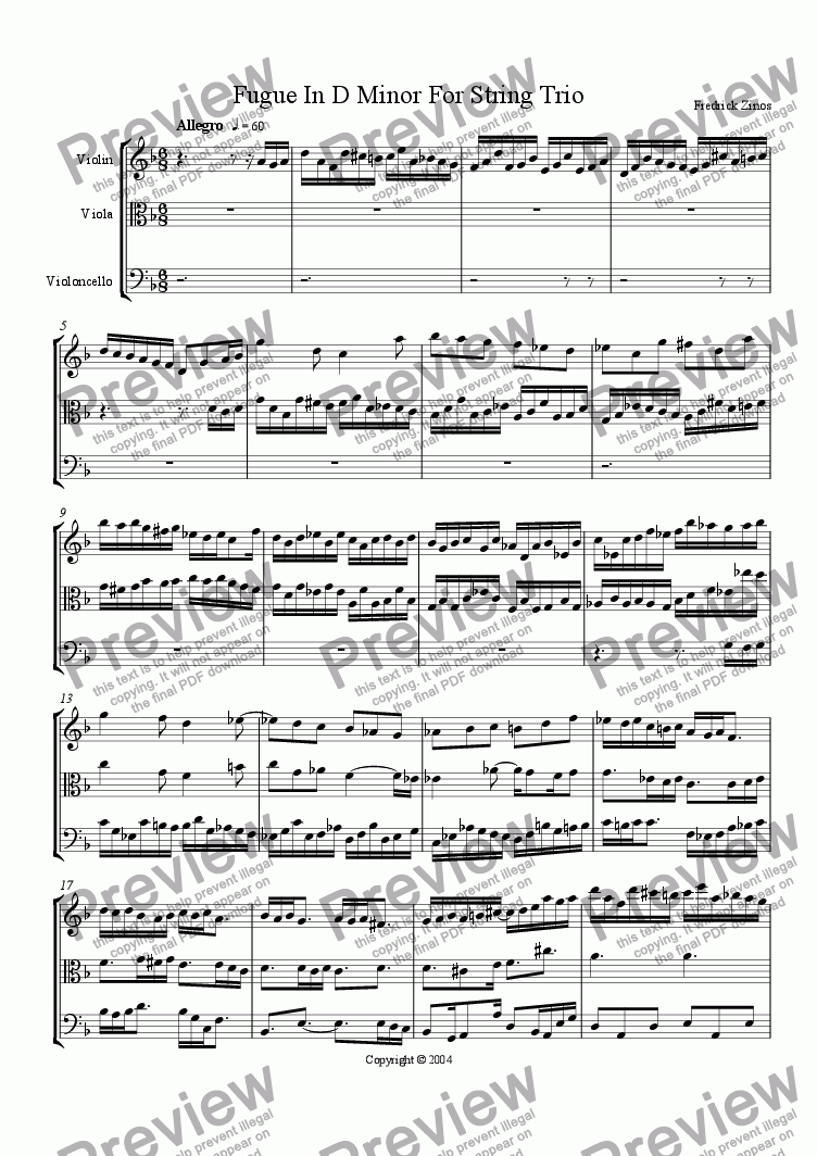 page one of Fugue in D Minor for String Trio