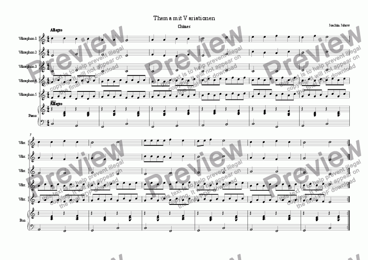 page one of School Music 05 (Variations for Vibes)