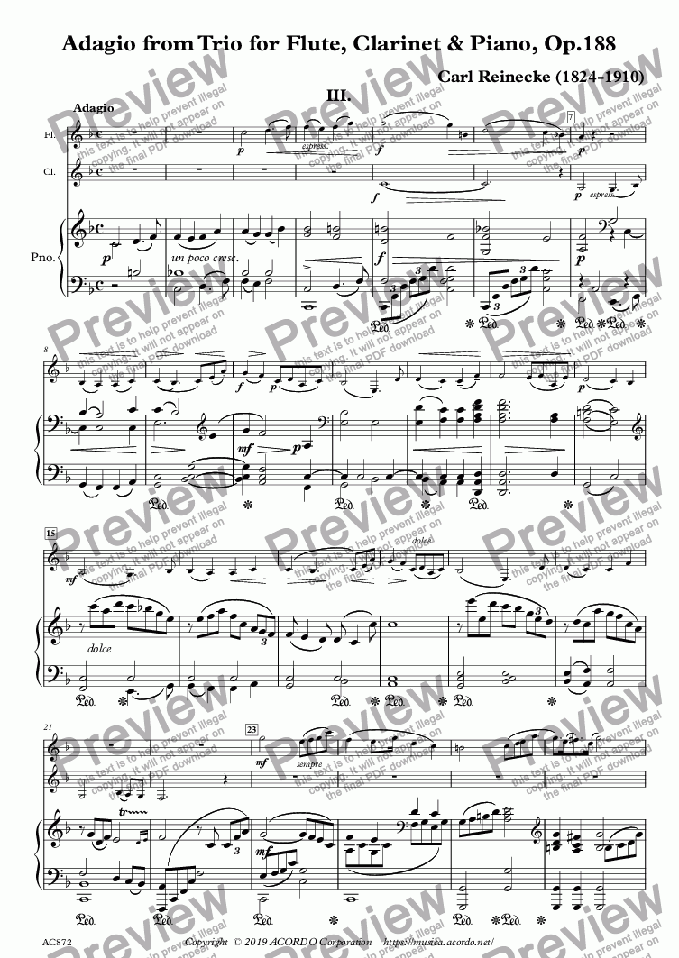 page one of Adagio from Trio for Flute, Clarinet & Piano, Op.188