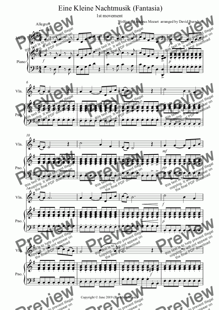 page one of Eine Kleine Nachtmusik (Fantasia) 1st movement for Violin and Piano