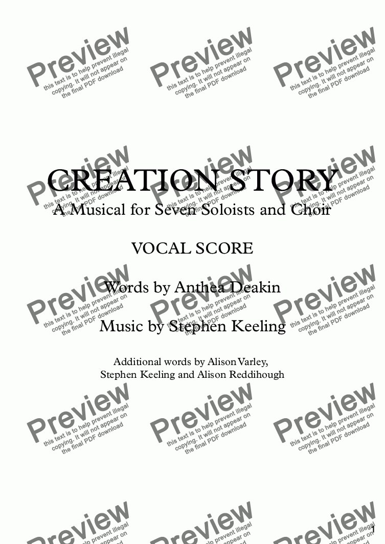 page one of CREATION STORY - A Musical for Seven Soloists and Choir - Vocal Score