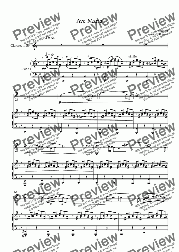 page one of Ave Maria, Franz Schubert, For Clarinet & Piano
