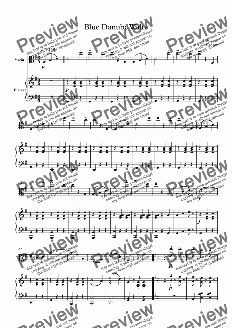 page one of Blue Danube Waltz, Johann Strauss Jr., For Viola & Piano