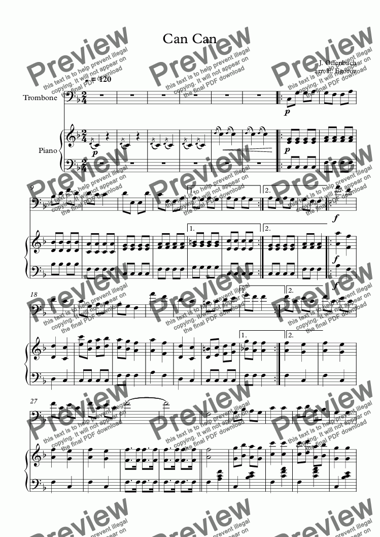 page one of Can Can, Jacques Offenbach, For Trombone & Piano
