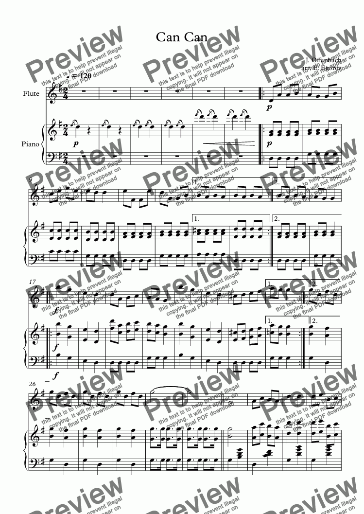 page one of Can Can, Jacques Offenbach, For  Flute & Piano