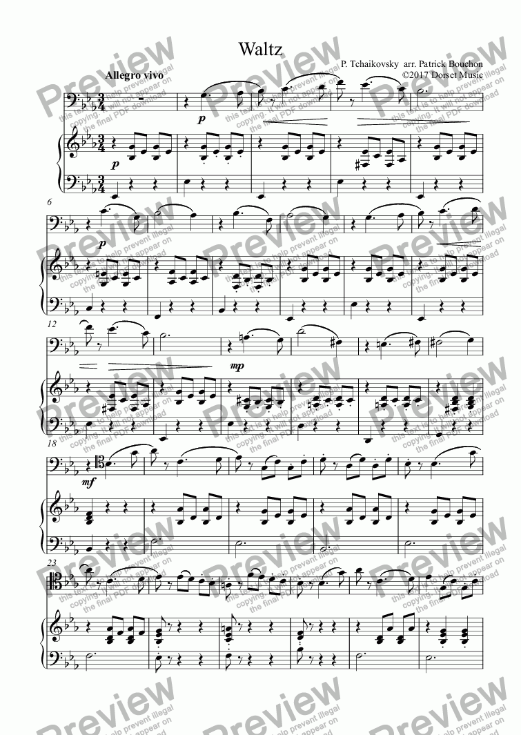 page one of Tchaikovsky - Waltz for Cello and Piano