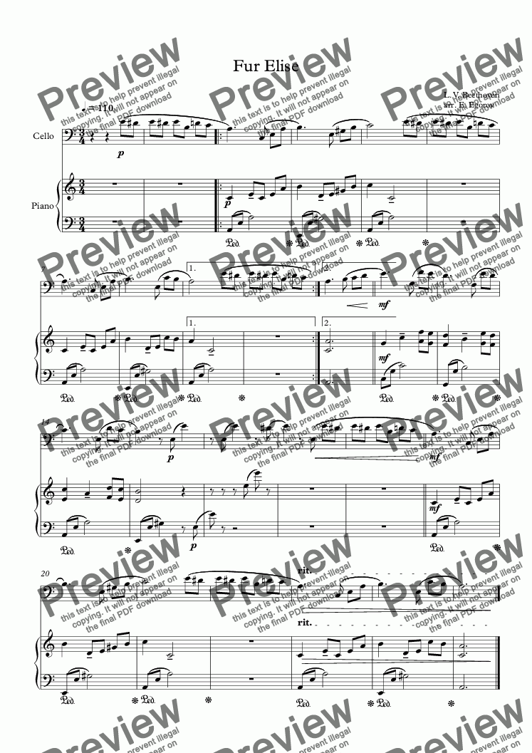 page one of Fur Elise, Ludwig Van Beethoven, For Cello & Piano